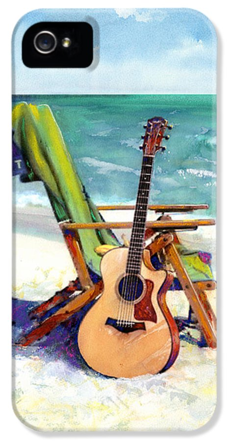 Guitar Paintings IPhone 5 Case featuring the painting Taylor At The Beach by Andrew King