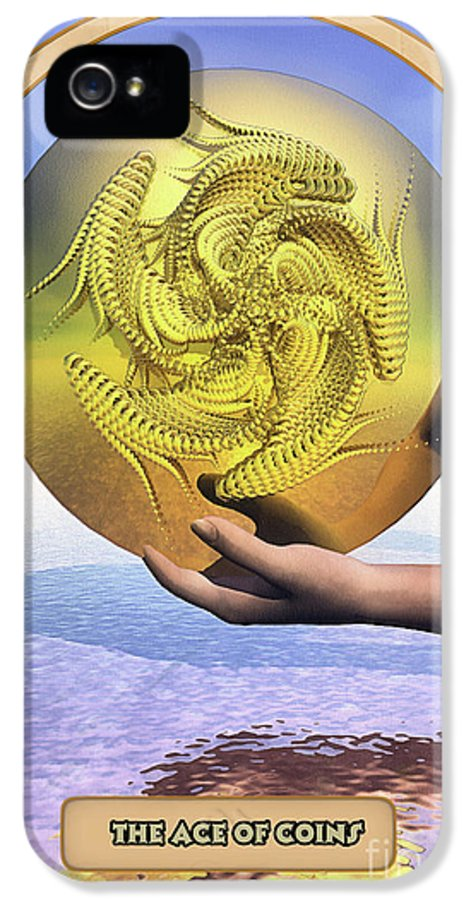 Magic IPhone 5 Case featuring the digital art The Ace Of Coins by John Edwards