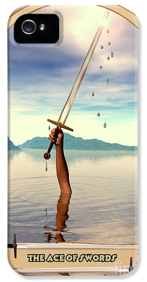 Magic IPhone 5 Case featuring the digital art The Ace Of Swords by John Edwards