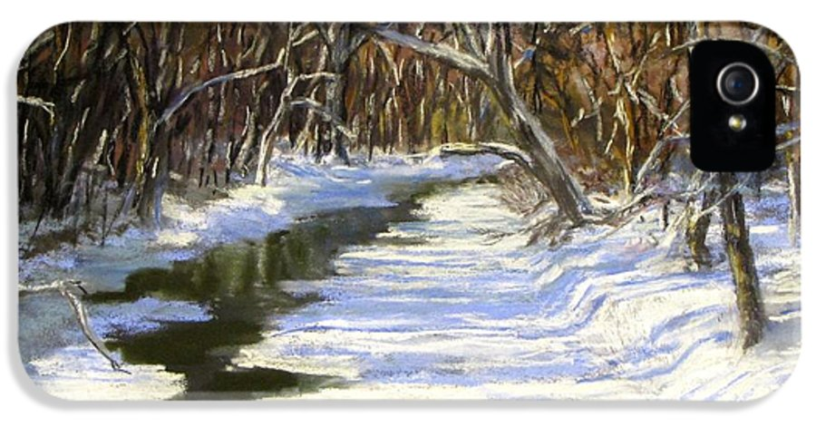 Assabet River IPhone 5 Case featuring the painting The Assabet River In Winter by Jack Skinner