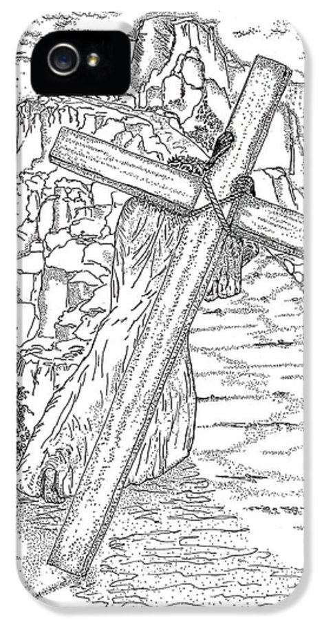 Jesus Christ IPhone 5 Case featuring the drawing The Burden Endured by Glenn McCarthy Art and Photography