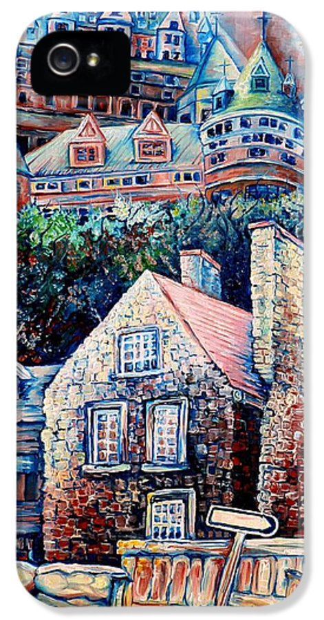 Chateau Frontenac IPhone 5 Case featuring the painting The Chateau Frontenac by Carole Spandau