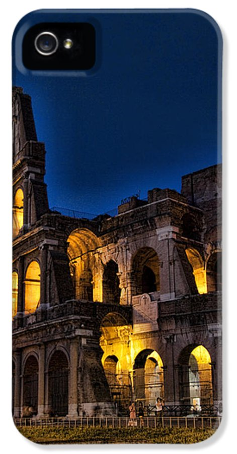 Coleseum IPhone 5 / 5s Case featuring the photograph The Coleseum In Rome At Night by David Smith