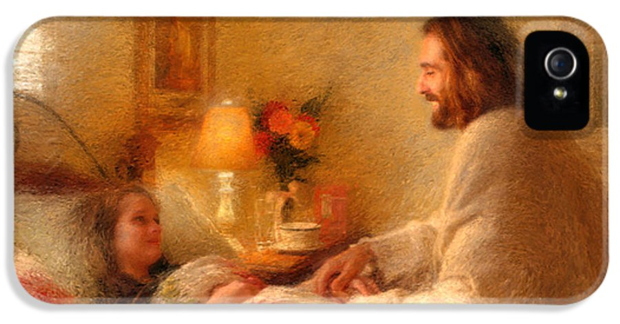 Jesus IPhone 5 Case featuring the painting The Comforter by Greg Olsen