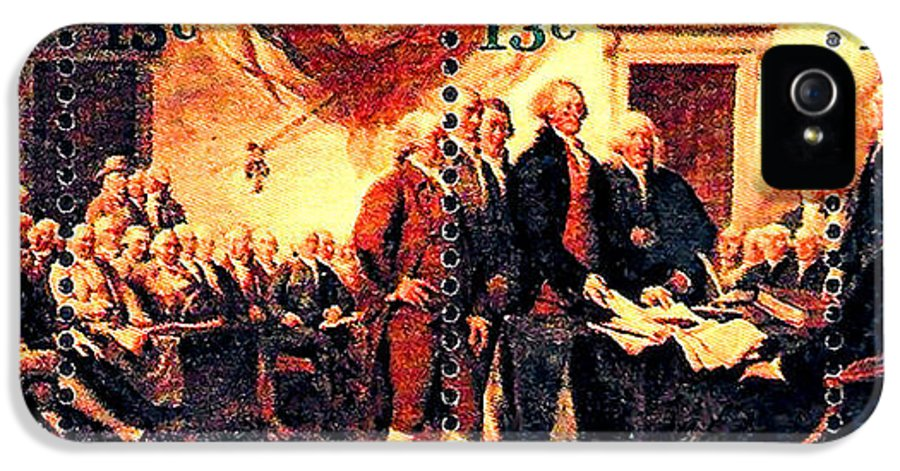 The Declaration Of Independence Stamps IPhone 5 Case featuring the painting The Declaration Of Independence by Lanjee Chee