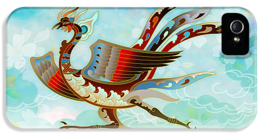 Bird IPhone 5 Case featuring the digital art The Empress - Flight Of Phoenix - Blue Version by Bedros Awak