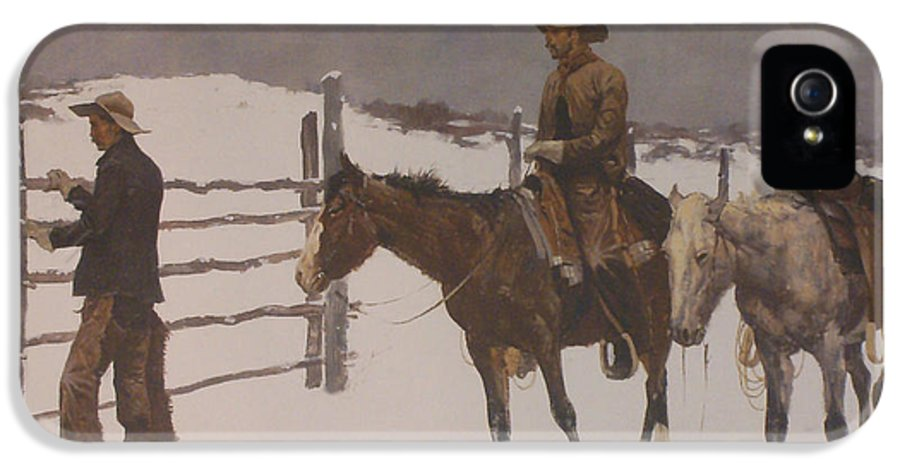 Frederic Remington IPhone 5 Case featuring the digital art The Fall Of The Cowboy by Frederic Remington