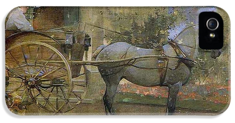 Joseph Crawhall - The Governess Cart IPhone 5 Case featuring the painting The Governess Cart by MotionAge Designs