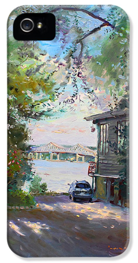 Hudson River IPhone 5 Case featuring the painting The House By The River by Ylli Haruni