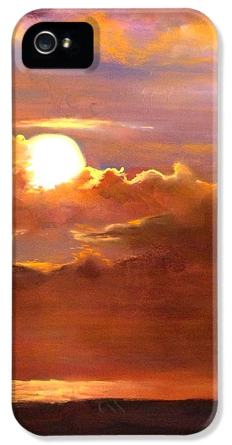 Sunset IPhone 5 Case featuring the painting The Last Cast by Jack Skinner