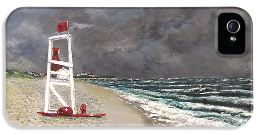 Seascape IPhone 5 Case featuring the painting The Last Lifeguard by Jack Skinner