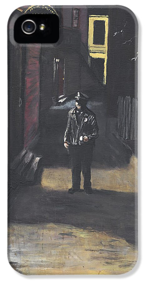 Police Officer IPhone 5 Case featuring the painting The Lonely Beat by Jack Skinner