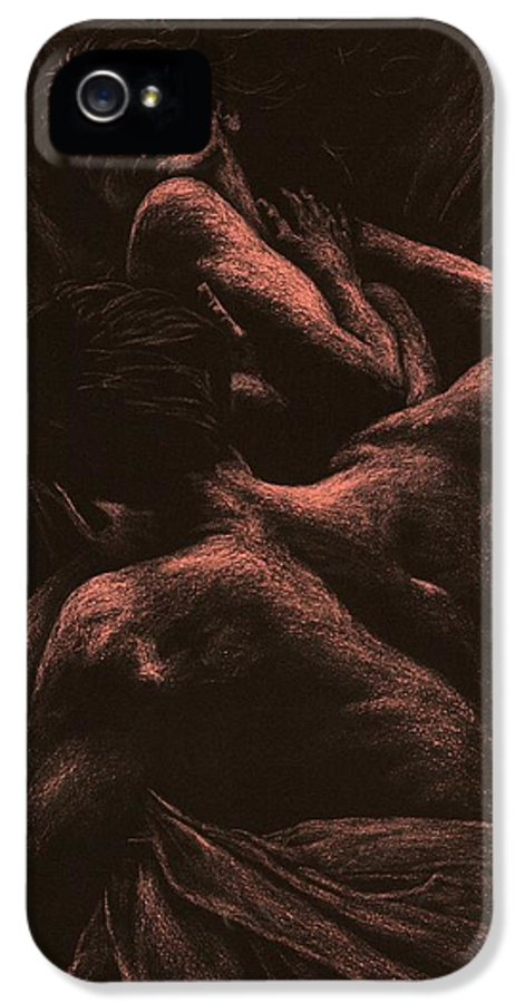Nude IPhone 5 Case featuring the pastel The Lovers by Richard Young