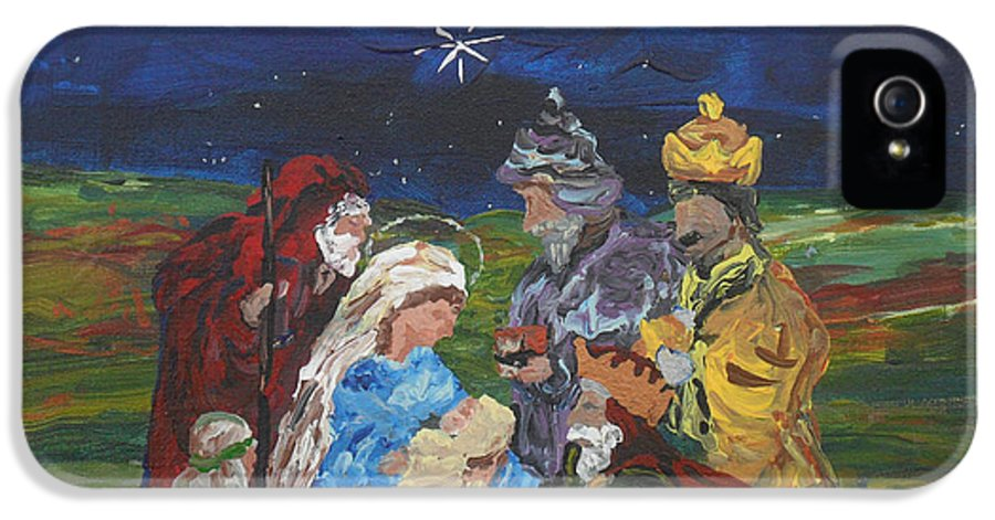 Nativity IPhone 5 Case featuring the painting The Nativity by Reina Resto