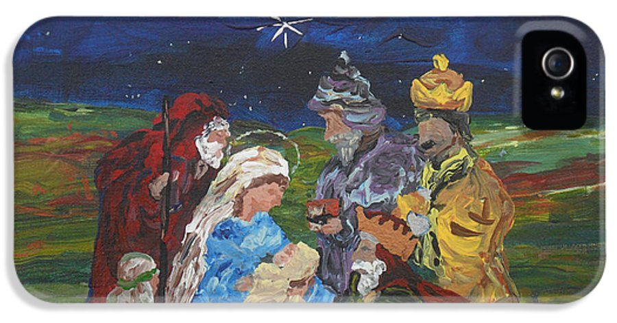Nativity IPhone 5 / 5s Case featuring the painting The Nativity by Reina Resto