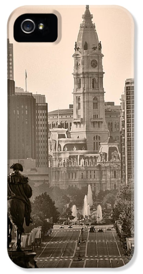 Benjamin Franklin Parkway IPhone 5 / 5s Case featuring the photograph The Parkway In Sepia by Bill Cannon