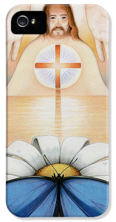 Jesus IPhone 5 Case featuring the drawing The Price And The Promise by Amy S Turner