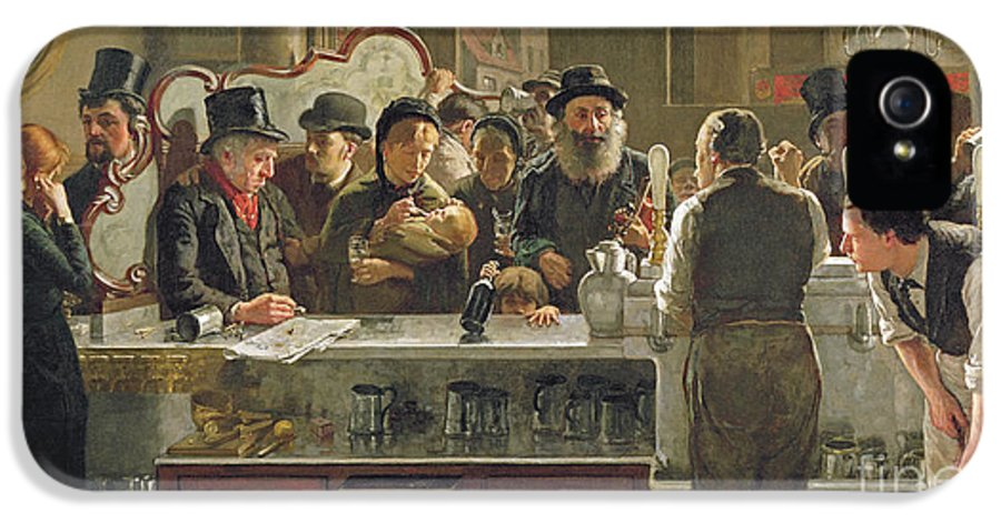 Drinking;drink;social;pub;landlord;barman;barmen IPhone 5 Case featuring the painting The Public Bar by John Henry Henshall