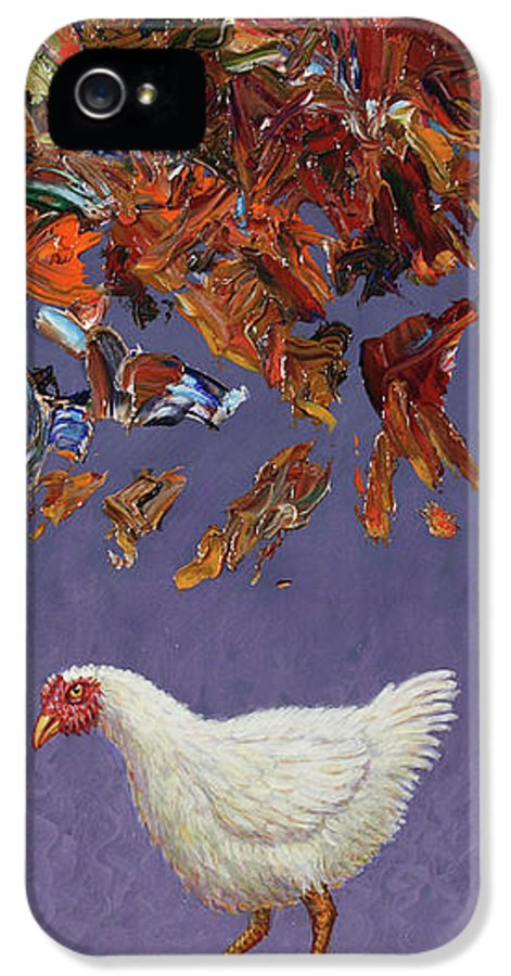 Chicken Little IPhone 5 Case featuring the painting The Sky Is Falling by James W Johnson