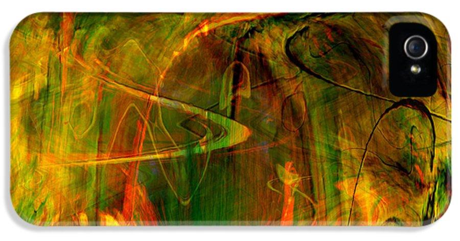 Abstract Digital Abstract Digital Painting Digital Art Design Dark Art Vibrant Art Yellow IPhone 5 Case featuring the digital art The Spirit Glows by Linda Sannuti