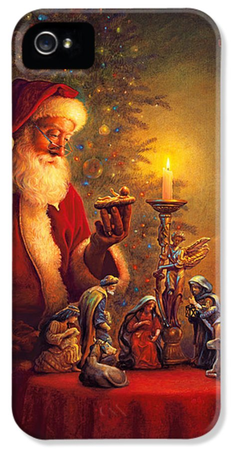 Santa Claus IPhone 5 Case featuring the painting The Spirit Of Christmas by Greg Olsen