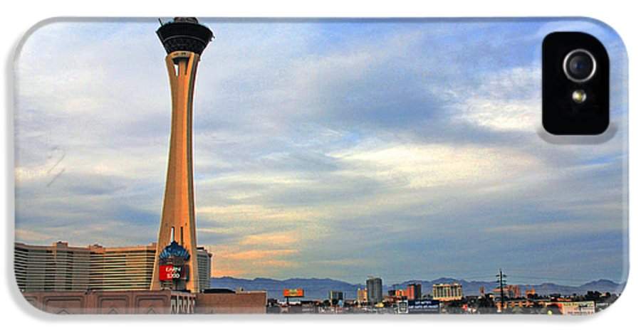 Photography IPhone 5 Case featuring the photograph The Stratosphere In Las Vegas by Susanne Van Hulst