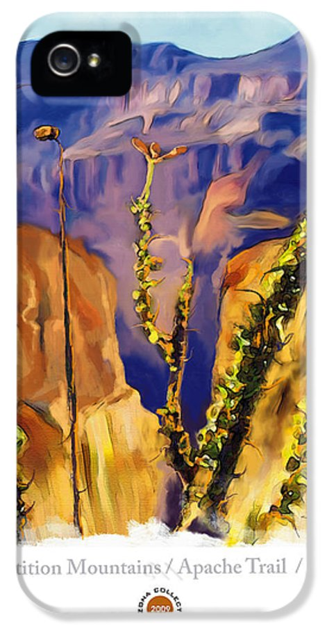Impressionism IPhone 5 Case featuring the painting The Superstition Mtns. Az by Bob Salo