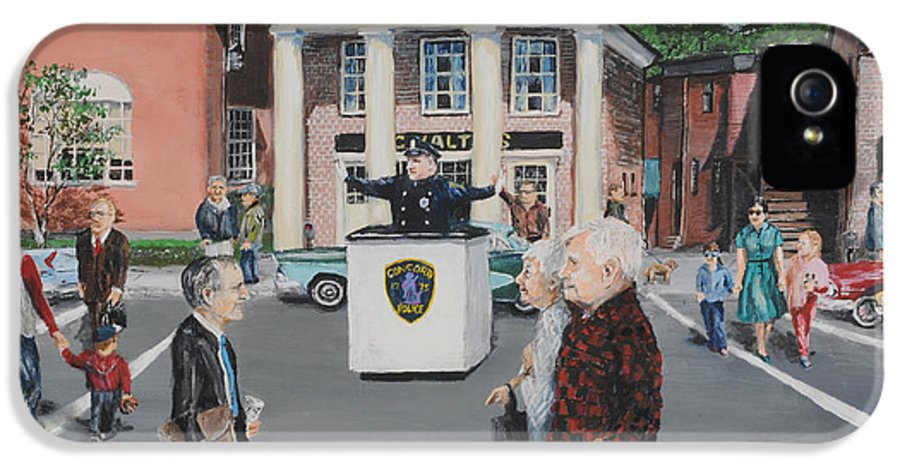 Police IPhone 5 Case featuring the painting The Traffic Box by Jack Skinner