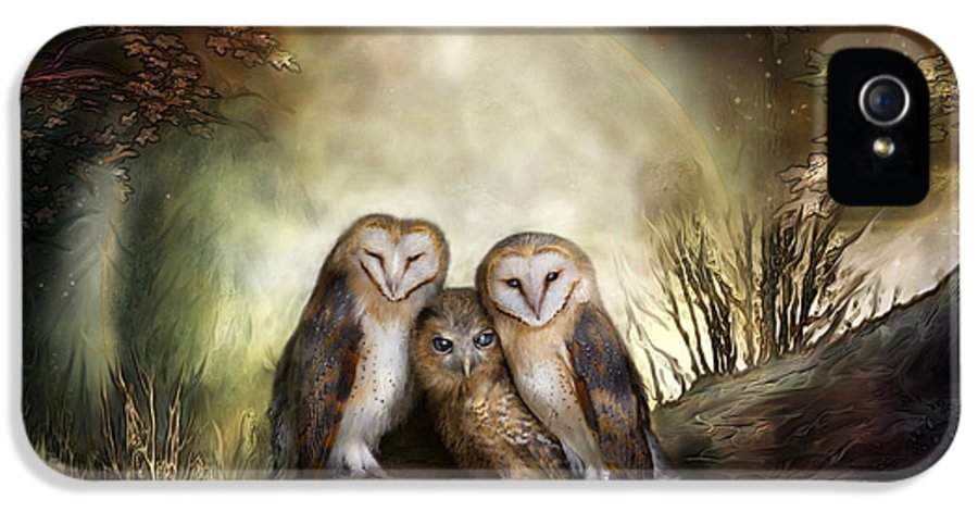 Owl IPhone 5 Case featuring the mixed media Three Owl Moon by Carol Cavalaris