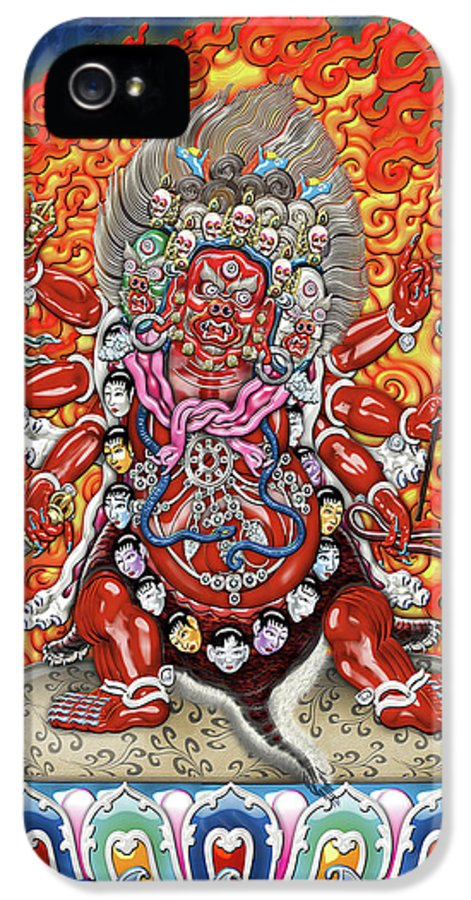 'treasures Of Tibet' Collection By Serge Averbukh IPhone 5 Case featuring the digital art Tibetan Thangka - Wrathful Deity Hayagriva by Serge Averbukh