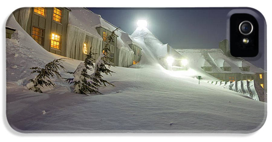 Timberline Lodge IPhone 5 Case featuring the photograph Timberline Lodge Mt Hood Snow Drifts At Night by Dustin K Ryan