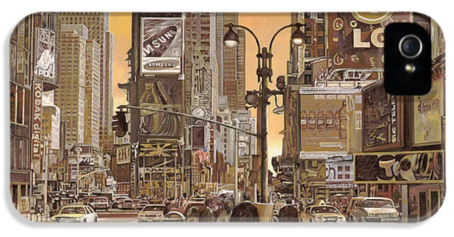 New York IPhone 5 Case featuring the painting Times Square by Guido Borelli