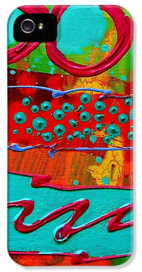 Abstract IPhone 5 Case featuring the painting Totem by John Nolan