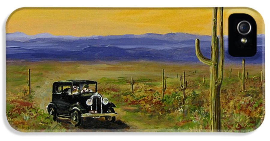 Desert IPhone 5 Case featuring the painting Touring Arizona by Jack Skinner