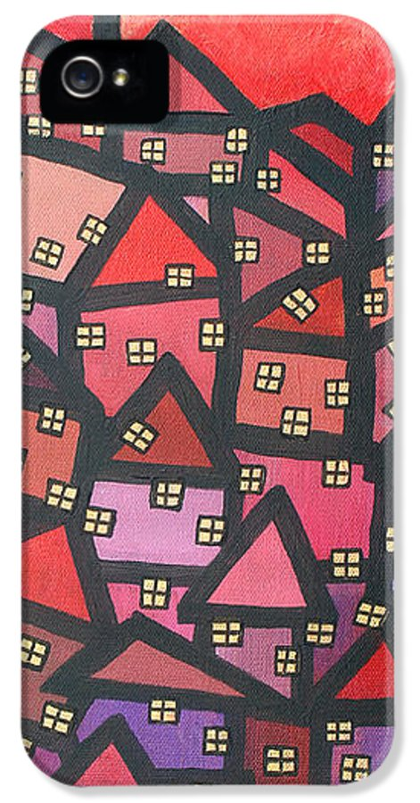 Acrylic IPhone 5 Case featuring the painting Town Of The Rising Sun by Jutta Maria Pusl