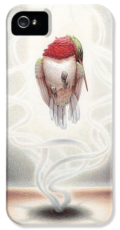 Hummingbird IPhone 5 Case featuring the drawing Transcendent Flight by Amy S Turner