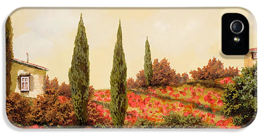 Landscape IPhone 5 Case featuring the painting Tre Case Tra I Papaveri by Guido Borelli