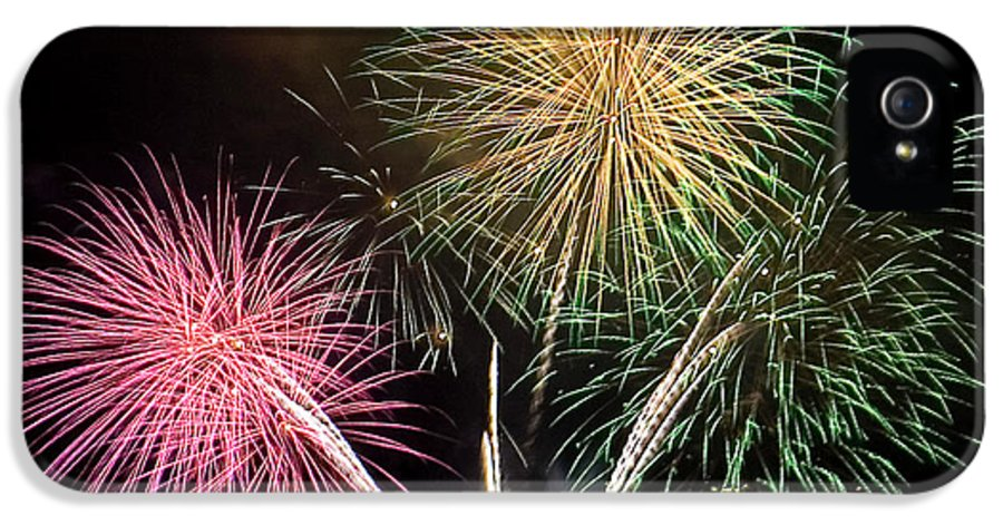 Fireworks IPhone 5 Case featuring the photograph Triple Color by David Patterson