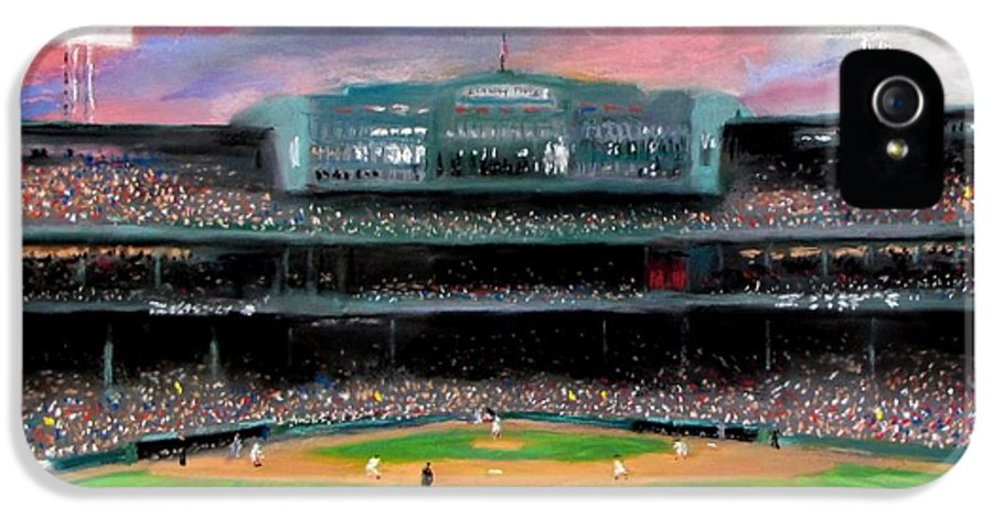 Baseball IPhone 5 Case featuring the painting Twilight At Fenway Park by Jack Skinner