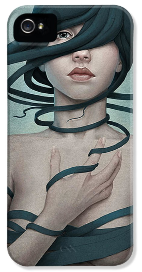 Woman IPhone 5 Case featuring the digital art Twisted by Diego Fernandez
