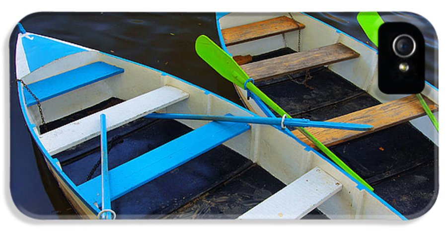 Anchored IPhone 5 Case featuring the photograph Two Boats by Carlos Caetano
