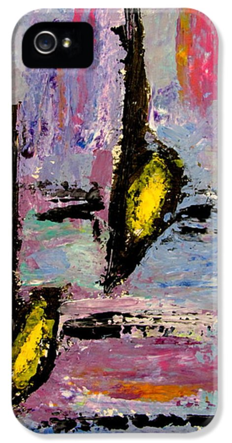 Music IPhone 5 Case featuring the painting Two Flats by Anita Burgermeister