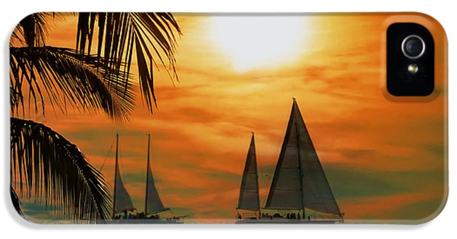 Sail IPhone 5 Case featuring the photograph Two Ships Passing In The Night by Bill Cannon