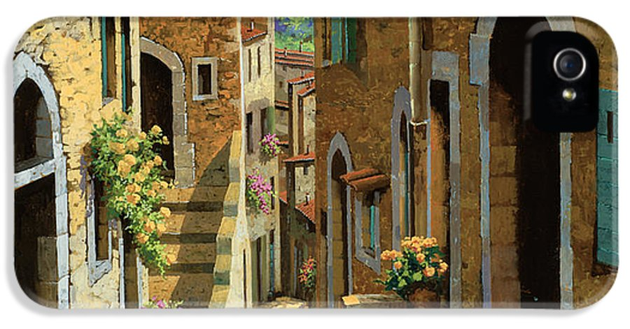 Village IPhone 5 Case featuring the painting Un Passaggio Tra Le Case by Guido Borelli
