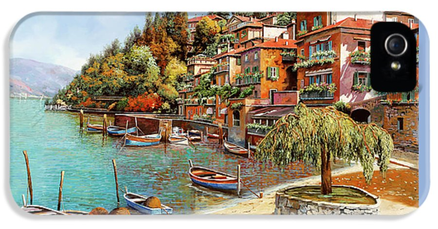 Lake Como IPhone 5 Case featuring the painting Varenna On Lake Como by Guido Borelli