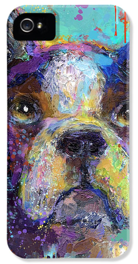 Boston Terrier IPhone 5 Case featuring the painting Vibrant Whimsical Boston Terrier Puppy Dog Painting by Svetlana Novikova