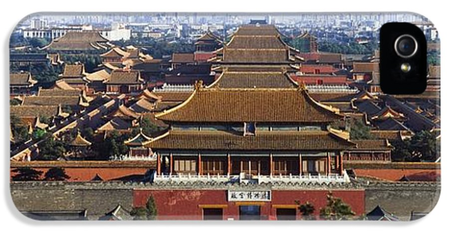 Built Structure IPhone 5 Case featuring the photograph View Of The Forbidden City At Dusk From by Axiom Photographic