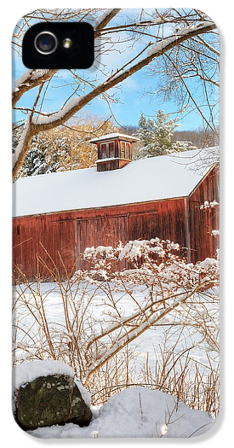 Old Red Barn IPhone 5 Case featuring the photograph Vintage New England Barn Portrait by Bill Wakeley
