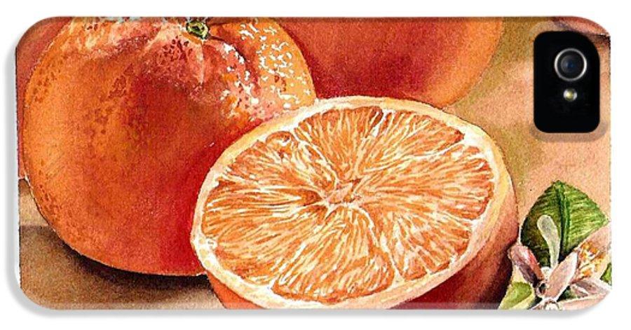 Orange IPhone 5 Case featuring the painting Vitamin C by Irina Sztukowski