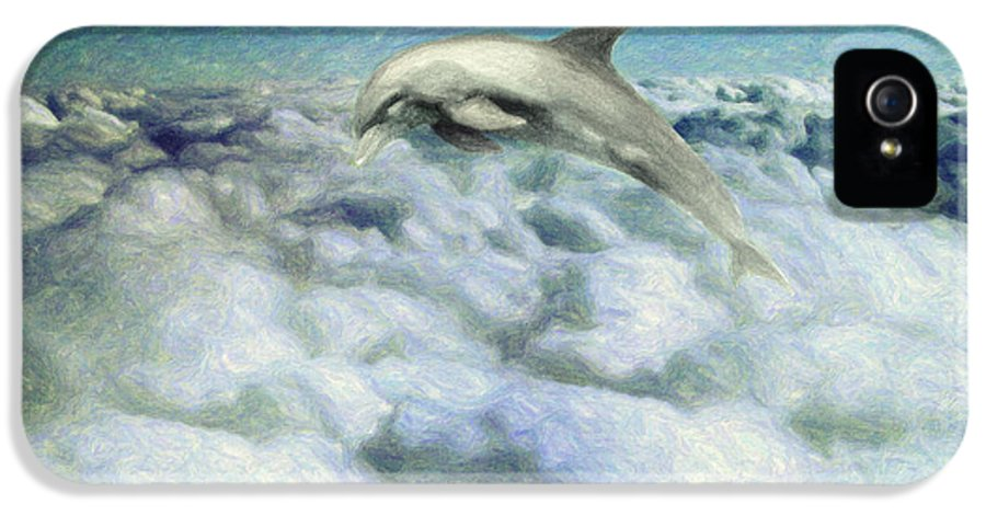 Dolphin IPhone 5 Case featuring the painting Voyage by Taylan Apukovska